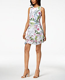 Robbie Bee Petite Ruffled Floral A-Line Dress