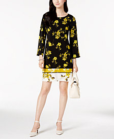 Alfani Petite Mixed-Print Shift Dress, Created for Macy's
