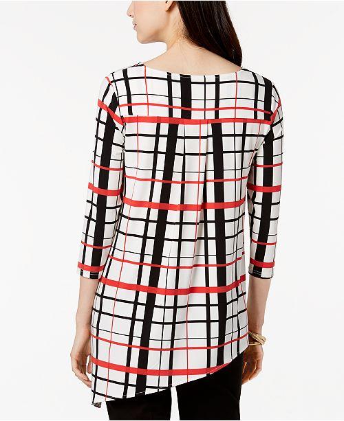 for Plaid Macy's Tunic Alfani Print Red Created Asymmetrical Petite Clean qSx1wFg