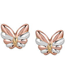 Tricolor Butterfly Stud Earrings in 10k Gold, White Gold & Rose Gold