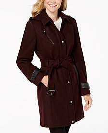 MICHAEL Michael Kors Petite Faux-Leather-Trim Coat