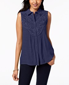 NY Collection Petite Sleeveless Crochet-Trim Top