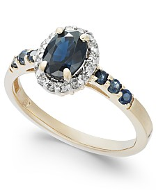 Sapphire (1-3/8 ct. t.w.) & Diamond (1/6 ct. t.w.) Ring in 14k Gold