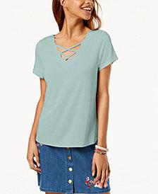 One Hart Juniors' Scalloped Crisscross-Strap T-Shirt, Created for Macy's