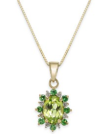 "Multi-Gemstone (1-1/4 ct. t.w.) & Diamond Accent 18"" Pendant Necklace in 14k Gold"