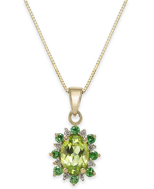 "Macy's Multi-Gemstone (1-1/4 ct. t.w.) & Diamond Accent 18"" Pendant Necklace in 14k Gold"