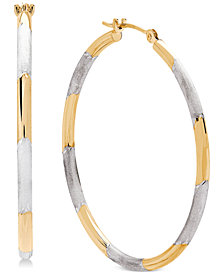 Two-Tone Hoop Earrings in 14k Gold