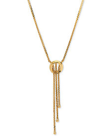 "Open Ring 17"" Lariat Necklace in 14k Gold"