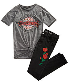 GUESS Big Girls Tie-Front T-Shirt & Embroidered Jeans