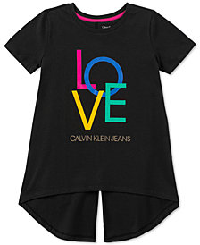 Calvin Klein Big Girls Love Jumble Cotton T-Shirt