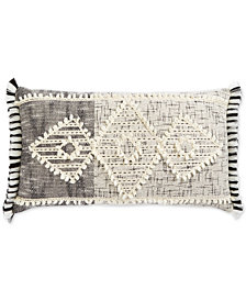 "Oxford Collection Hand-Woven Diamond 14"" x 24"" Oblong Decorative Pillow, Created for Macy's"