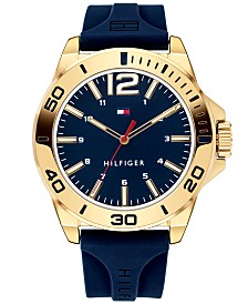 Tommy Hilfiger Men's Blue Silicone Strap Watch 45mm