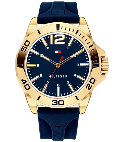 Tommy Hilfiger Men's Blue Silicone Strap Watch 45mm
