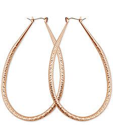 GUESS Gold-Tone Wire-Wrapped Teardrop Hoop Earrings