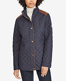 Petite Faux-Leather-Trim Quilted Coat, Created for Macy's