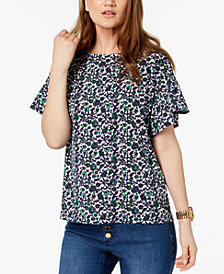 MICHAEL Michael Kors Printed Ruffled-Sleeve Top in Regular & Petite Sizes