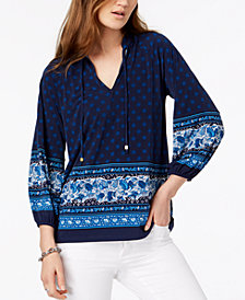 MICHAEL Michael Kors Border-Print Top in Regular & Petite Sizes