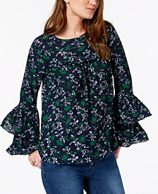 MICHAEL Michael Kors Ruffled-Sleeve Top In Regular & Petite Sizes