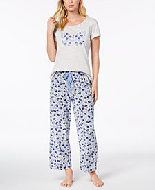 Charter Club Graphic Pajama Top & Printed Pajama Pants Sleep Separates, Created for Macy's