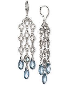 Jenny Packham Silver-Tone Pavé & Stone Shaky Chandelier Earrings