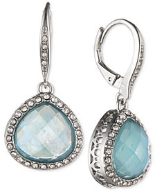 Jenny Packham Silver-Tone Pavé & Stone Drop Earrings