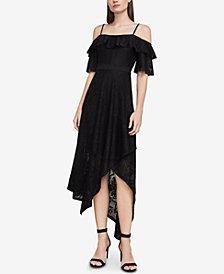 BCBGMAXAZRIA Demi Lace Asymmetrical Midi Dress