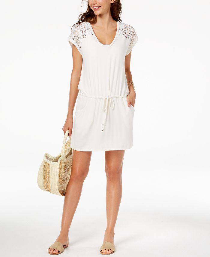 Calvin Klein - Crochet-Shoulder Tunic Cover Up
