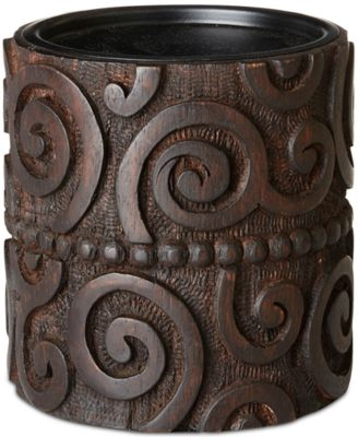 Ink & Ivy Pacheco Carved Wood & Iron Small Candle Holder