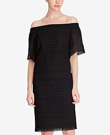 Lauren Ralph Lauren Eyelet Off-The-Shoulder Cotton Shift Dress