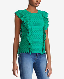 Lauren Ralph Lauren Ruffled Eyelet Cotton Top