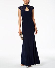 B&A by Betsy & Adam Glitter Lace Mock-Neck Gown