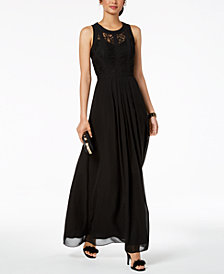 Betsy & Adam Caged Lace Gown, Regular & Petite