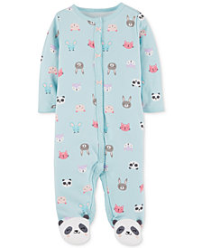 Carter's Baby Girls Animal-Print Footed Cotton Coverall