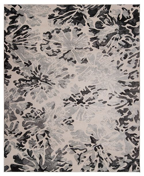 KM Home Steelo Bloom Silver Area Rug Collection