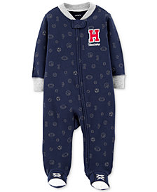 Carter's Baby Boys Sports-Print Footed Cotton Coverall