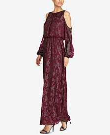Lauren Ralph Lauren Burnout Cold-Shoulder Gown