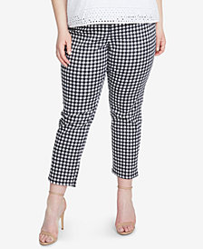 RACHEL Rachel Roy Trendy Plus Size Slim-Leg Cropped Gingham Pants