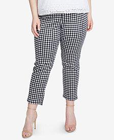 RACHEL Rachel Roy Trendy Plus Size Slim-Leg Cropped Gingham Pants