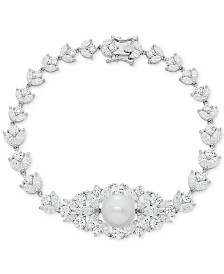 Cultured Freshwater Pearl (10mm) & Swarovski Zirconia Orbital Link Bracelet in Sterling Silver