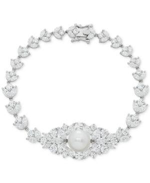 Cultured Freshwater Pearl (10mm) & Swarovski Zirconia Orbital Link Bracelet in Sterling Silver -  Arabella