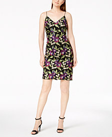 Calvin Klein Floral Embroidered Spaghetti-Strap Dress