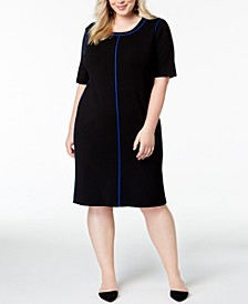 Plus Size Contrasting-Trim Dress, Created for Macy's