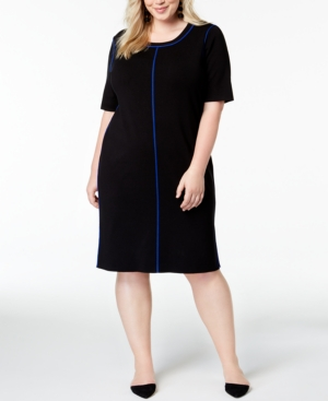 Image of 525 America Plus Size Contrasting-Trim Dress, Created for Macy's