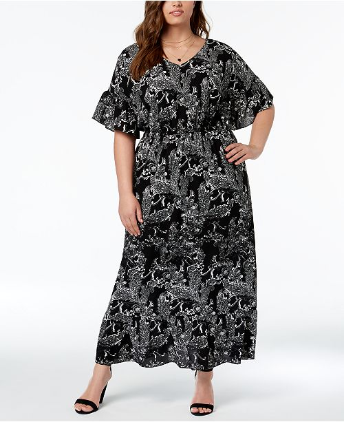NY Collection Plus Size Printed Dolman-Sleeve Maxi Dress - Dresses ...