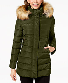 I.N.C. Faux-Fur-Trim Hooded Puffer Coat, Created for Macy's