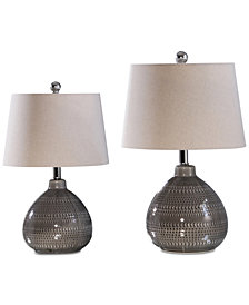 Abbyson Living Set of 2 Carlson Gray Table Lamps
