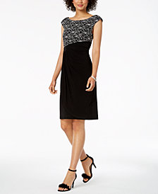 Connected Contrast Sequined-Lace Draped Dress