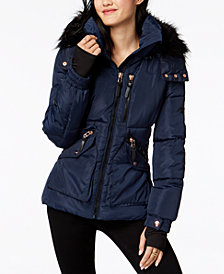 XOXO Juniors' Faux-Fur-Trim Hooded Puffer Coat