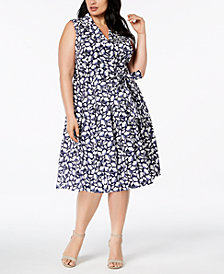 Anne Klein Plus Size Floral-Print Wrap Dress