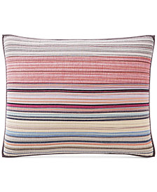 Martha Stewart Collection Rustic Yarn-Dyed Stripe 100% Cotton Standard Sham, Created for Macy's